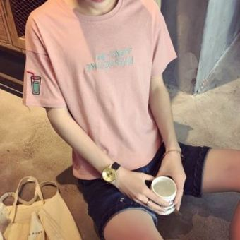 LOOESN Korean-style short sleeved men summer T-shirt (Cola pink)