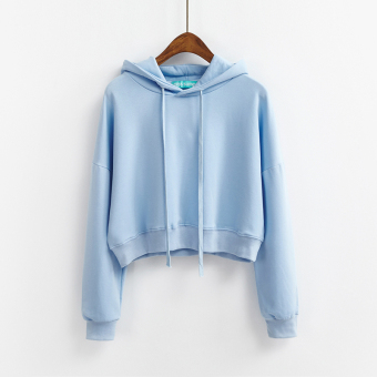 LOOESN Korean-style solid color female autumn Top New style hooded hoodie (Sky blue color)