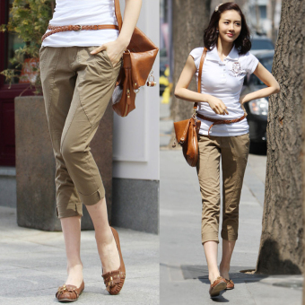 LOOESN Korean-style spring New style thin harem pants Capri pants (Camel)