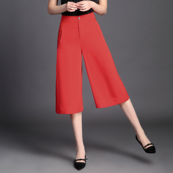 LOOESN Korean-style women high-waisted slimming casual pants Capri wide leg pants (Orange)