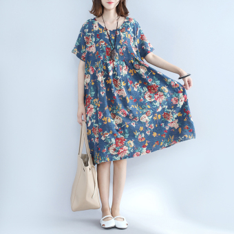 LOOESN national style short sleeved Plus-sized dress Suihua dress