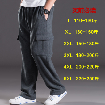 LOOESN Plus velvet multi-with pockets warm pants Qiudong sports pants (Dark Grey)