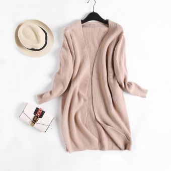LOOESN versitile fashion solid color female slimming knit cardigan autumn New style knit shirt (Khaki)