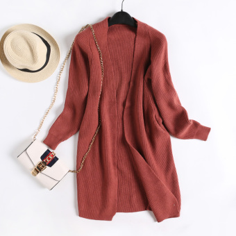LOOESN versitile fashion solid color female slimming knit cardigan autumn New style knit shirt (Rust Hong)