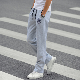 Loose autumn and winter Slim fit straight men's casual pants sweatpants (Light gray color)