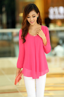 Loose Chiffon Long Sleeves Blouse (Pink) - picture 2