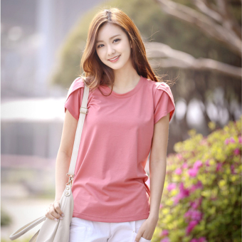 Loose cotton short-sleeved women T-shirt (Pink)