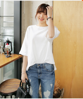 Loose cotton solid white short sleeved t-shirt round neck at hem women Summer Women Clothing Tops Blouse T-Shirts