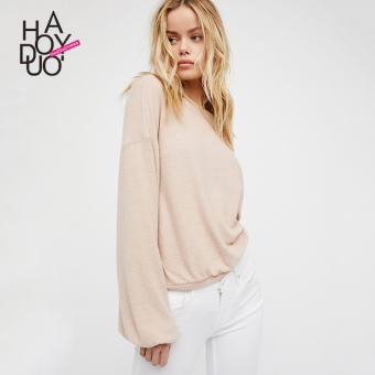Loose haoduoyi2017 fashion solid color autumn New style pullover sweater (Beige)