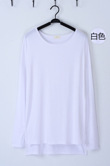 Loose in Europe and America modal long-sleeved mid-length base shirt T-shirt (Long sleeves slit T-shirt white) (Long sleeves slit T-shirt white)