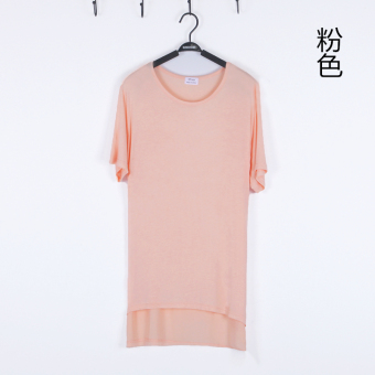 Loose in Europe and America modal long-sleeved mid-length base shirt T-shirt (Short-sleeved split T-shirt pink) (Short-sleeved split T-shirt pink)