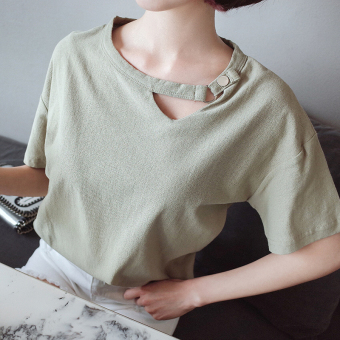 Loose Korean-style cotton linen solid color Plus-sized T-shirt (Green beans color) (Green beans color)