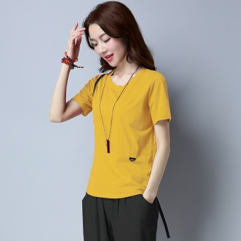 Loose Korean-style cotton solid color New style Top T-shirt (Yellow)
