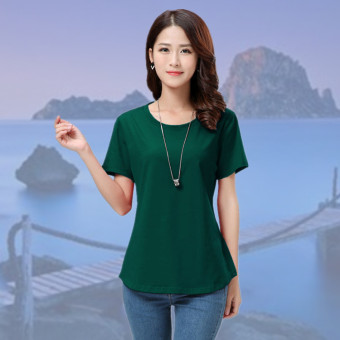 Loose Korean-style cotton solid color round neck casual base shirt T-shirt (Dark green color)