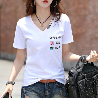 Loose Korean-style cotton white Plus-sized small shirt T-shirt (White)