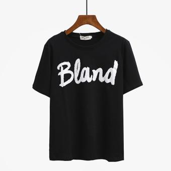Loose Korean-style female summer round neck Top T-shirt (101 # B black)