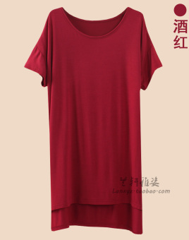 Loose Korean-style modal mid-length short sleeved t-shirt (Wine red color)