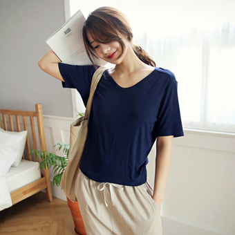 Loose Korean-style modal solid color blouses T-shirt (Sapphire blue color)