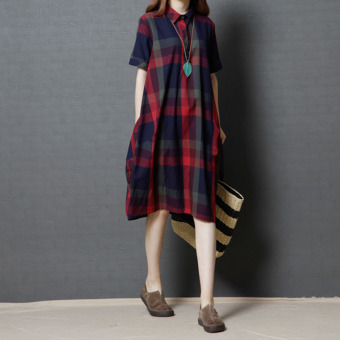Loose Korean-style New style plaid mid-length cotton linen short sleeved dress shirt dress (Red) (Red)