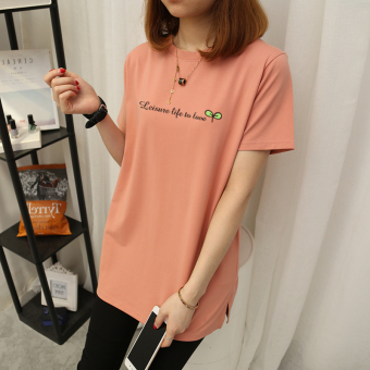 Loose Korean-style pure white style short-sleeved t-shirt (Champagne color-letter grass)