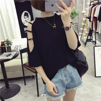 Loose Korean-style Short sleeve off-the-shoulder Top (202 black)