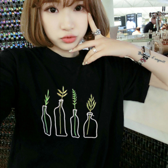 Loose Korean-style short sleeved female student T-shirt (5153 black) (5153 black)