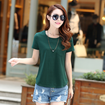 Loose Korean-style solid New style summer T-shirt (Dark green color)