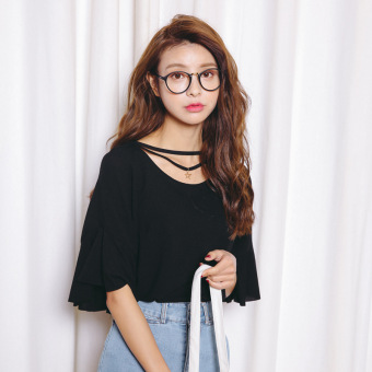 Loose Korean-style solid Plus-sized Slimming effect T-shirt bottoming shirt (Black)