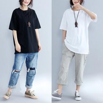 Loose Korean-style solid Slimming effect short-sleeved t-shirt Models (Black)