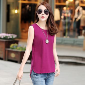 Loose Korean-style summer sleeveless bottoming shirt T-shirt (Wine red color)