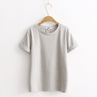 Loose popular plain this year solid color short sleeved t-shirt (Light gray color)