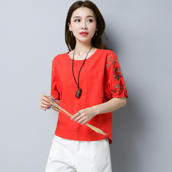 Loose retro cotton linen Plus-sized embroidered flower T-shirt shirt (Red) (Red)