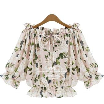 Loose short-sleeved female summer shirt Top chiffon shirt (Pink)