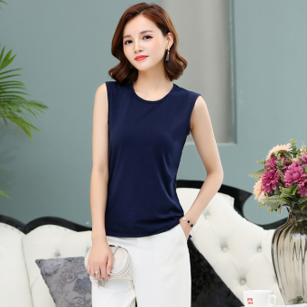 Loose simple cotton short sleeved female T-shirt sleeveless bottoming shirt (Dark blue color) (Dark blue color)