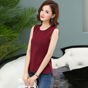 Loose simple cotton short sleeved female T-shirt sleeveless bottoming shirt (Wine red color) (Wine red color)