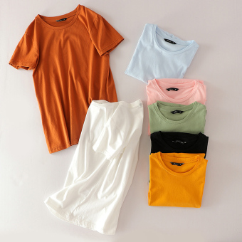 Loose simple cotton Slimming effect breathable T-shirt solid color Top (Pink color)