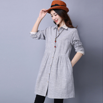 Loose simple spring New style long-sleeved cotton linen shirt (Black) (Black)