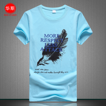 Loose summer dress printed cotton short sleeved t-shirt shirt (Sky blue color feather) (Sky blue color feather)