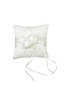 Lovely Ivory Flower Wedding Ring Pillow White