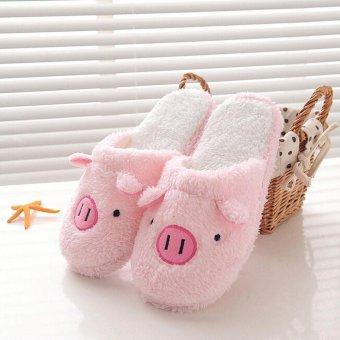 Lovely Pig Home Floor Soft Stripe Slippers Female Shoes - intl - 3