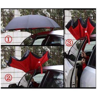 Magicbrella Double Layer Inverted Upside Down Umbrella (Fuchsia Pink) - 2