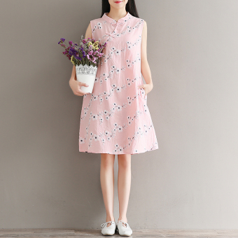 Mak artistic embroidered printed plate buttons dress sleeveless Cheongsam (Pink) (Pink)
