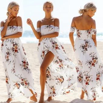 Makiyo Women Summer Casual Off Shoulder Floral Print Short Sleeve Long Maxi Beach Dress For Travel Vacation (White) - intl - 2