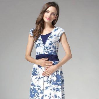 MamaLove summer Maternity Dresses Nursing pregnant dressMaternityBreastfeeding Nursing Clothes for pregnant women(Blue)Fit(M~XL) - 2