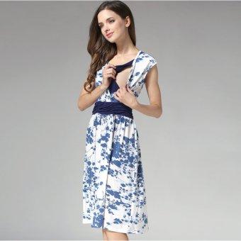 MamaLove summer Maternity Dresses Nursing pregnant dressMaternityBreastfeeding Nursing Clothes for pregnant women(Blue)Fit(M~XL) - 5