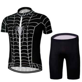 Man Cycling Jersey Sets Quick-Dry Short Sleeve Cycling Clothing MTB Jersey(Black)