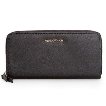 Mango Saffiano Effect Zip PU Leather Long Wallet Purse