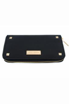 Mango Studded Saffiano Effect Zip Wallet Purse (Black) - 4