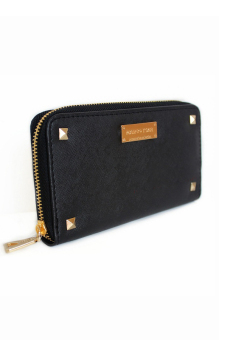 Mango Studded Saffiano Effect Zip Wallet Purse (Black) - 2