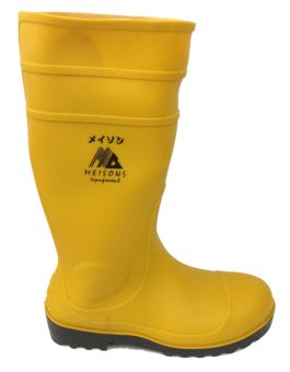Meisons Safety Rubber Rain Boots With Steel Toe (Yellow)
